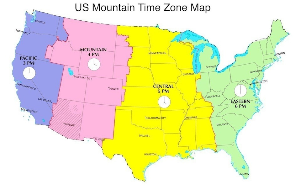 Mountain Daylight Time in US Now, MDT Now, US Time Zones Map