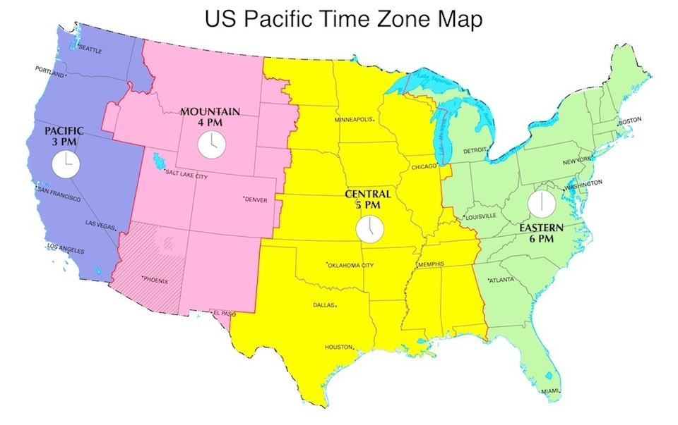 Pacific Daylight Time In US Now PDT Now US Time Zones Map - Us time map zone