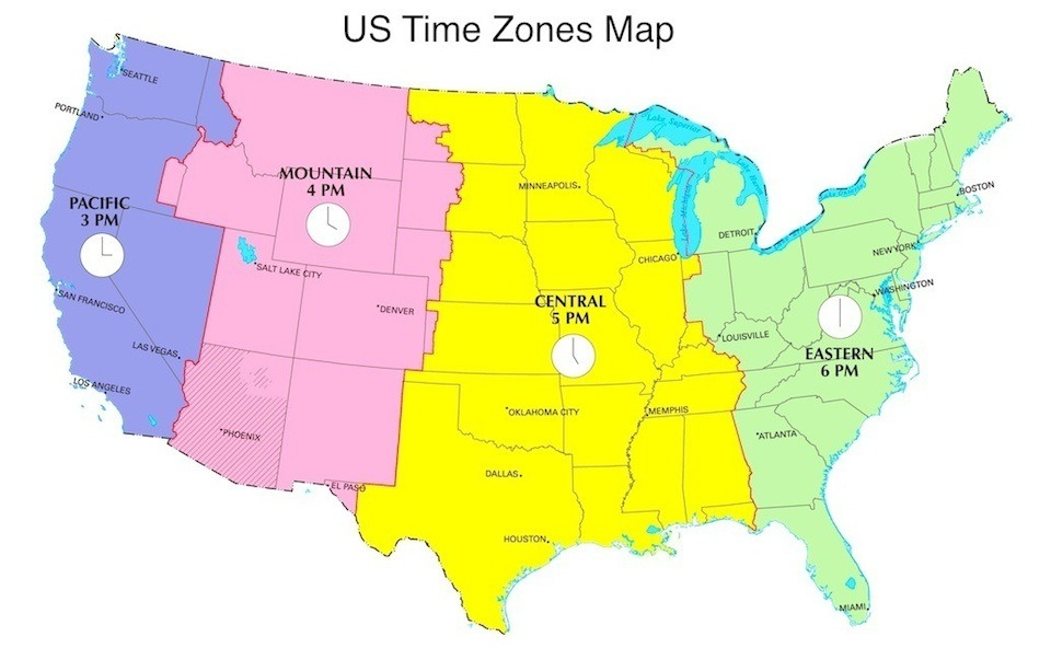 Chicago Time Zone Map Chicago Map - Current time zone map of the us
