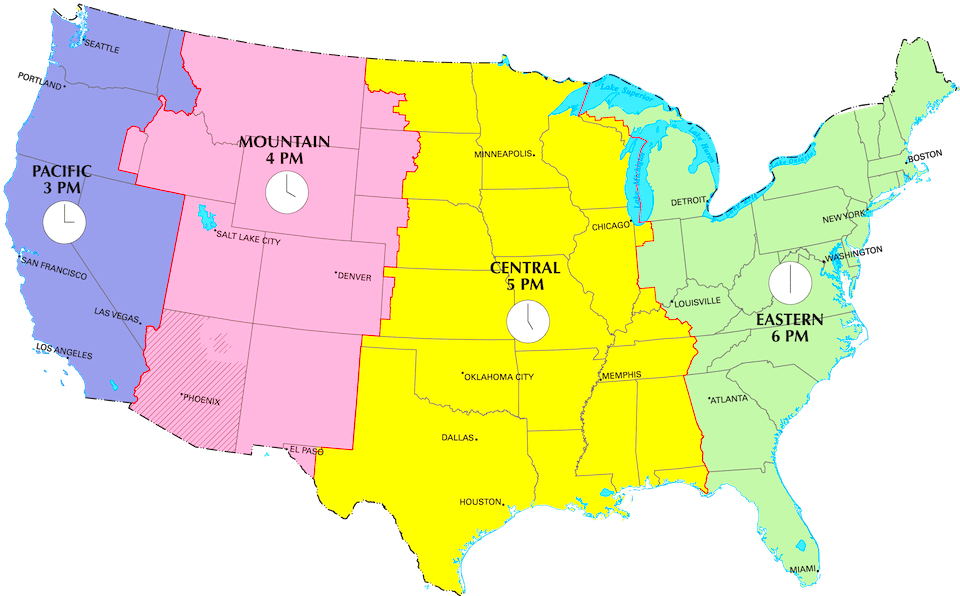 US Time Zones Map Current Local Time In USA - Us daylight savings time map